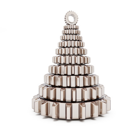alfa: metall fir tree from machine gear on white background. 3d Illustrations Stock Photo
