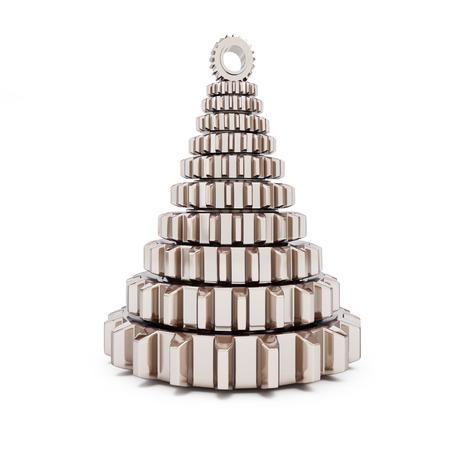 metall fir tree from machine gear on white background. 3d Illustrations Reklamní fotografie