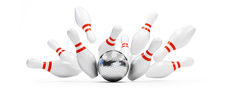 bowling strike disco ball on white background. 3d Illustrations