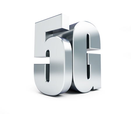 wireless connection: 5G metal sign, 5G cellular high speed data wireless connection. 3d Illustrations on white background Stock Photo