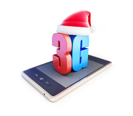 wireles: 3g smartphone ang text 3G Santa Hat, 3G cellular high speed data wireless connection. 3d Illustrations on white background Stock Photo