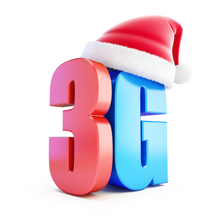 wireles: 3G sign Santa Hat, 3G cellular high speed data wireless connection. 3d Illustrations on white background