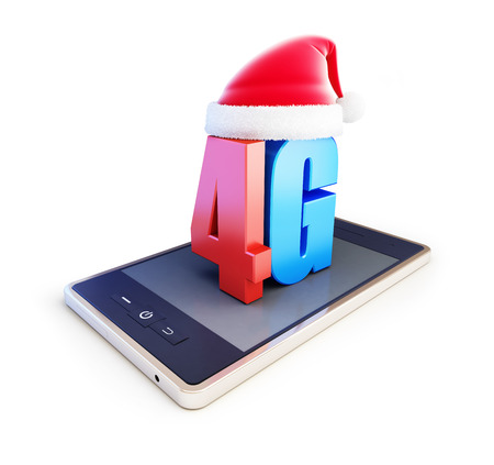 3g: 4g smartphone ang text 4G Santa Hat, 4G cellular high speed data wireless connection. 3d Illustrations on white background