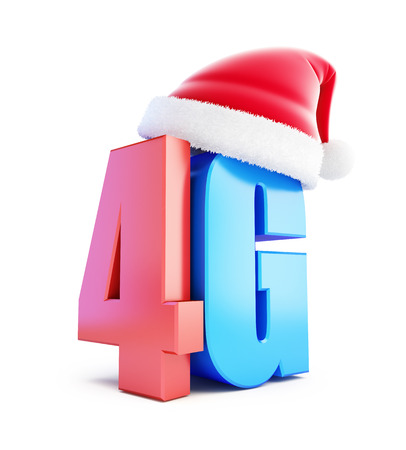 wireles: 4G sign Santa Hat, 4G cellular high speed data wireless connection. 3d Illustrations on white background