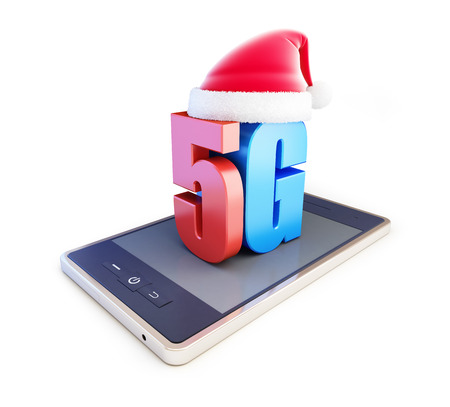3g: 5G smartphone ang text 5G Santa Hat, 5G cellular high speed data wireless connection. 3d Illustrations on white background Stock Photo