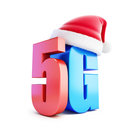 wireles: 5G sign Santa Hat, 5G cellular high speed data wireless connection. 3d Illustrations on white background