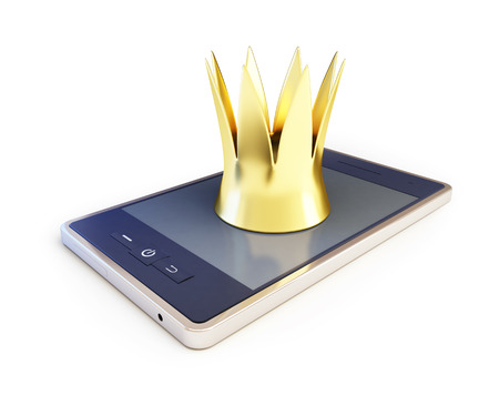 crown with a smartphone on white background. 3d Illustrations