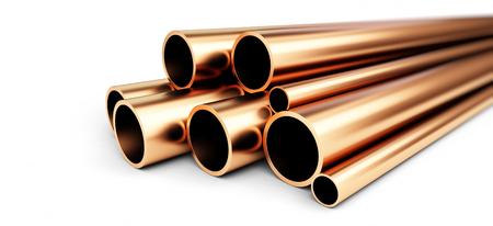 Tubo de cobre metálico sobre fondo blanco. 3d Ilustraciones Foto de archivo - 68611216