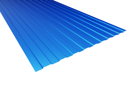 corrugated steel: roof metal sheet blue on white background. 3d Illustrations Stock Photo