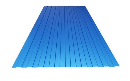 blue roof: roof metal sheet blue on white background. 3d Illustrations Stock Photo