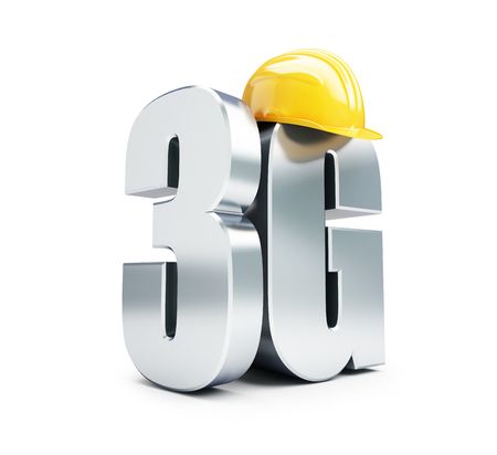 3G sign, 3G construction helmet high speed data wireless connection. 3d Illustrations on white background