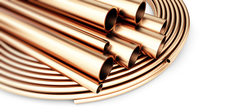 metal pipe: copper metal pipe on white background. 3d Illustrations