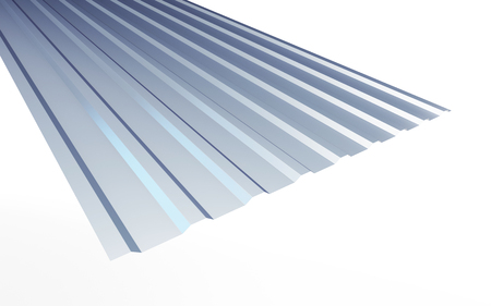 roofing: corrugated metal sheet on white background. 3d Illustrations Stock Photo