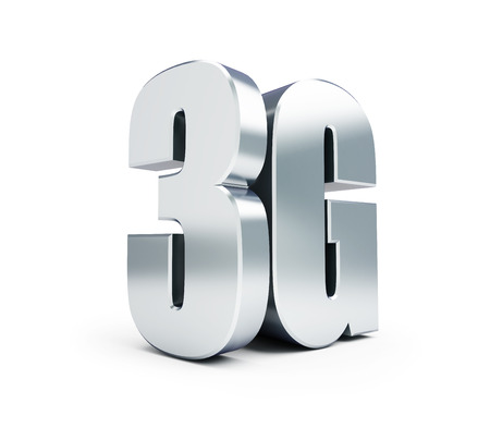 3g: 3G metal sign, 3G cellular high speed data wireless connection. 3d Illustrations on white background