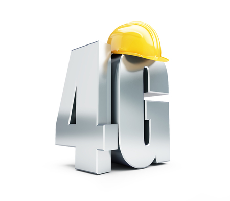 4G sign, 4G construction helmet high speed data wireless connection. 3d Illustrations on white background