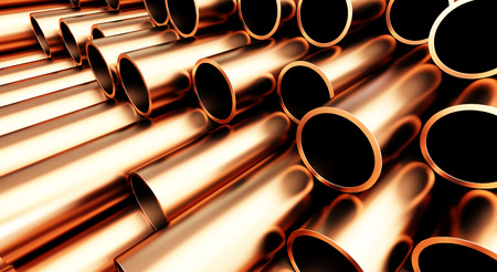 copper pipe on white background. 3d Illustrations Stock Photo