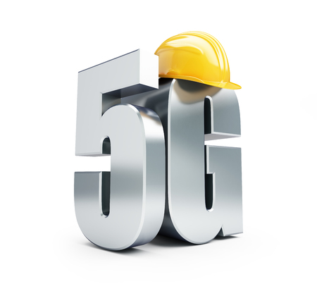 wireles: 5G sign, 5G construction helmet high speed data wireless connection. 3d Illustrations on white background