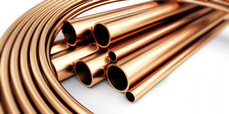 copper metal pipe 3d Illustrations Stock Photo