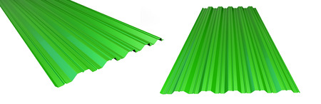 roof metal sheet green on white background. 3d Illustrations