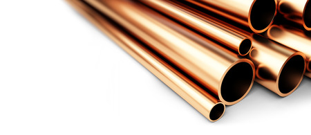 diameter: Set of copper pipes of different diameter . Isolated on White Background. 3D illustration