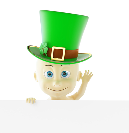 Baby in the cap of St. Patricks day green hat 3D illustration on a white background