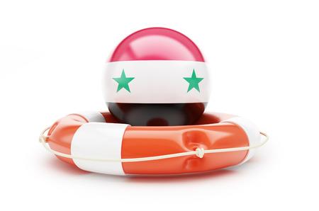 lifeline of the Flag of Syria. 3D illustration on a white background Stock Photo