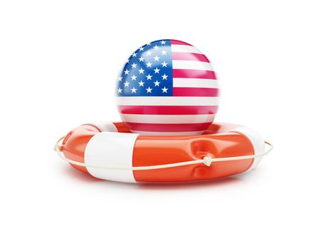 lifeline: lifeline with USA flag 3D illustration on a white background Stock Photo