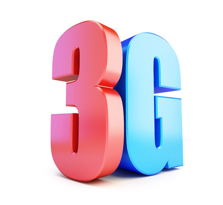 3G sign, 3G cellular high speed data wireless connection. 3d Illustrations on white background