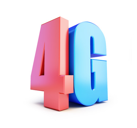 wireless connection: 4G sign, 4G cellular high speed data wireless connection. 3d Illustrations on white background