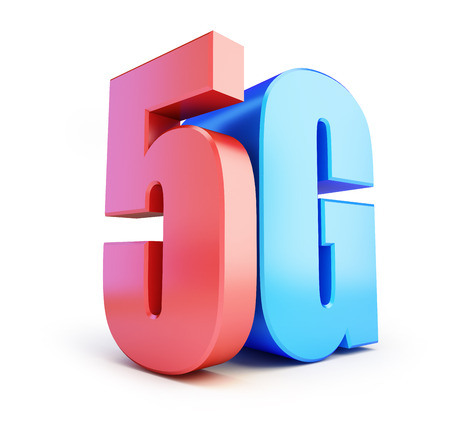wireless connection: 5G sign, 5G cellular high speed data wireless connection. 3d Illustrations on white background