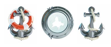 anchored: Set Anchor, Life Buoy, porthole broken 3d Illustrations on a white background Stock Photo