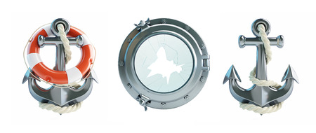Set Anchor, Life Buoy, porthole broken 3d Illustrations on a white background Stock Photo