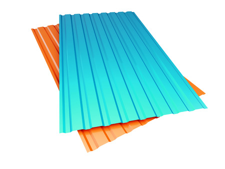 red and blue corrugated metal sheet on a white background 3D illustration Stock Photo