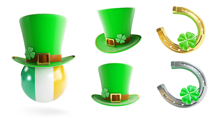 Set St. Patricks day green hat, horseshoe 3D illustration on a white background Stock Photo