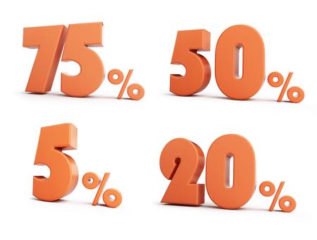 Set percent 3D illustration on a white background Stock Photo