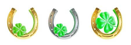 four fourleaf: Set St. Patricks day silver horseshoe. 3D illustration on a white background