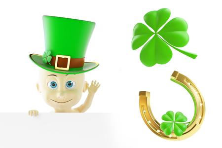 Stellen Sie St Patrick Tag. 3D-Darstellung auf weißem Hintergrund