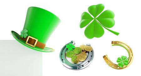 stpatrick: Set St. Patricks day green hat, horseshoe 3D illustration on a white background Stock Photo