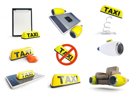 tabletpc: Taxi sign taxi flying, set 3D illustration on a white background