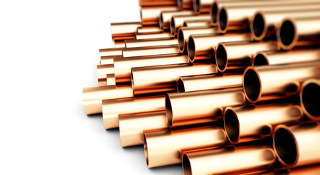 diameter: copper pipes. Isolated on White Background. 3D illustration Stock Photo