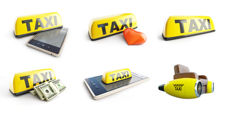 Taxi set 3D illustration on a white background Stock Photo