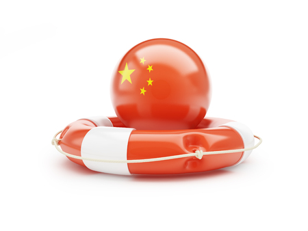 assist: lifeline with Chinese flag 3D illustration on a white background Stock Photo