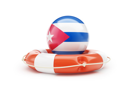 lifebelt: Lifebelt with Cuba flag 3D illustration on a white background