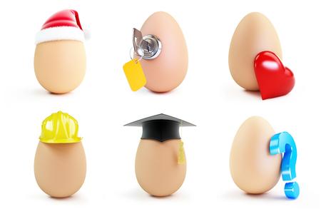 egg set on a white background 3D illustration Stock Photo