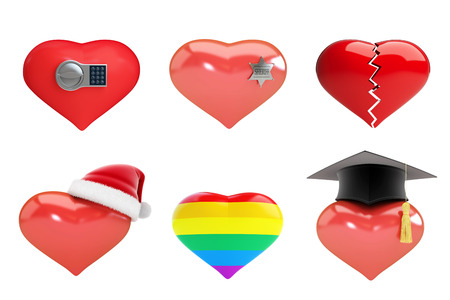 set of hearts in Santas hat, sheriffs star, heart is broken, electronic lock, on a white background 3D illustration