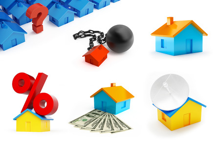 Set of house building. Sign percent on the roof , arrested the house, a question mark on a white background 3D illustration
