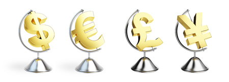 Globe many sign dollar, euro on white background. 3d Illustrations