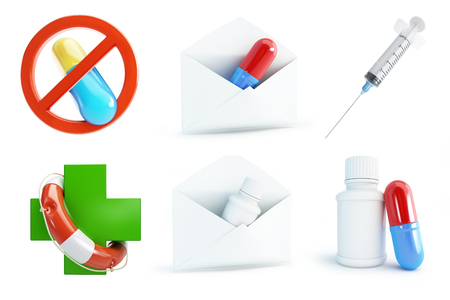 medicate: medicine set on a white background 3D illustration
