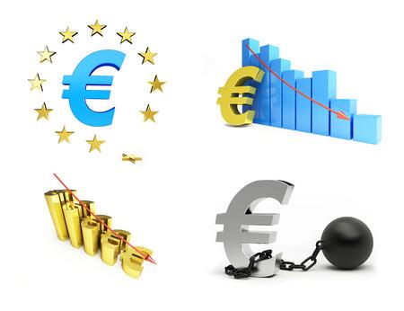shackled: european union, euro crisis set on white background. 3d Illustrations