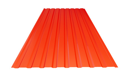 roof metal sheet red on white background. 3d Illustrations
